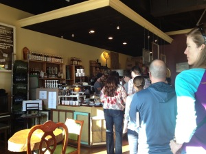 long line for coffee